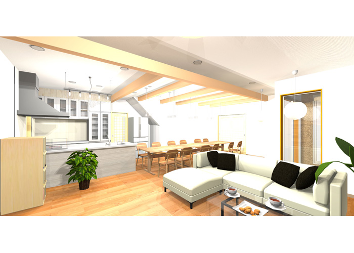 (仮称9おおらかに暮らしを包み込む数寄屋の家LDK内観パース | やまぐち建築設計室 山口哲央