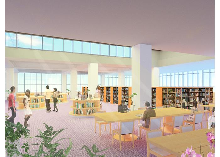 メディアテーク 一般図書スペースのイメージパース   大阪産業大学 源内拓人